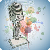 Microphone sketch & floral ornament Stock Photos