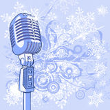 Microphone & snowflakes Stock Photo