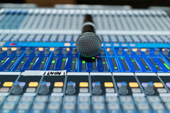Microphone. A microphone on sound cousole desk Royalty Free Stock Images