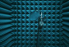 Microphone in the sound machine. The room for recording sound Royalty Free Stock Photo