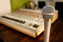 Microphone on sound mixer background. Copy space for text. stock photography