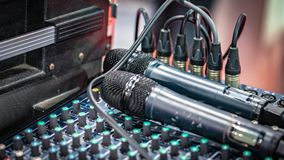 Microphone And Sound Mixer Control Panel stock photography