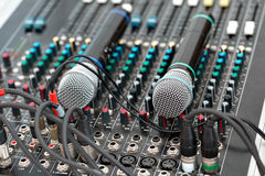 Microphone and sound mixer in public area concert stage. The bright day. Concert or event on the street Royalty Free Stock Image