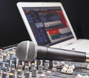 Microphone on sound mixing console Stock Image