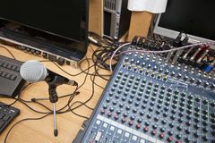 Microphone and sound mixing equipment at television studio Stock Photography