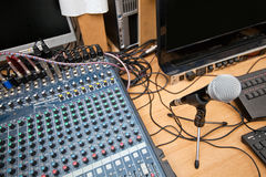 Microphone and sound mixing equipment at television studio Royalty Free Stock Images