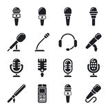 Microphone, sound, radio vector icons Royalty Free Stock Photo