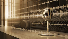Microphone. In the sound studio Stock Photos