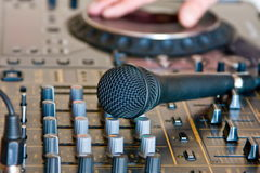 Microphone on soundboard dj. The microphone lays on soundboard dj Stock Photography