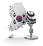 Microphone and South Korea (clipping path included) Royalty Free Stock Images