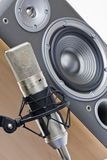 Microphone and speaker. Studio microphone and loudspeaker close-up stock photography