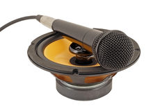Microphone on the speaker. Royalty Free Stock Image