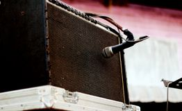 microphone and speaker music band stock photo
