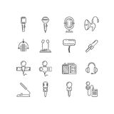 Microphone, speaker vector line icons Stock Photos