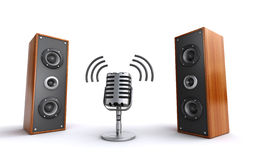 Microphone and speakers. Retro styled microphone with powerful wooden speakers on the white background (3d render Royalty Free Stock Image