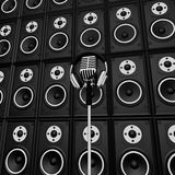 Microphone And Speakers Show Music Performance Concert Or Entert. Microphone And Speakers Showing Music Performance Concert Or Entertainment Stock Images