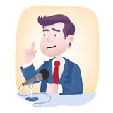 Microphone Speech. Speech microphone - gesture and facial expression of speaker Stock Photography