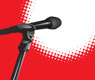 Microphone In Spotlight Stock Photo