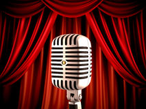 Microphone on stage. Retro microphone on stage, shallow dept of field Royalty Free Stock Image