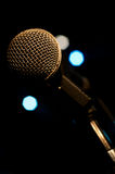 Microphone on stage. Close up eletric Stock Photography