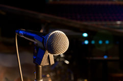 Microphone on stage. Close up eletric Stock Image
