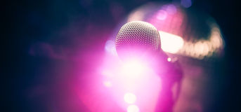Microphone on stage royalty free stock photo