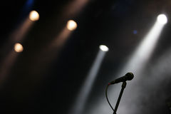 Microphone on  a stage Royalty Free Stock Photos
