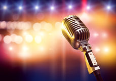 Microphone on stage Stock Photos