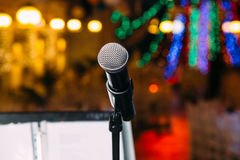 Microphone on the stage closeup Stock Images