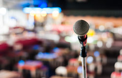 Microphone on stage in club Royalty Free Stock Photography