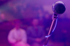 Microphone on stage Royalty Free Stock Images