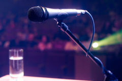 Microphone on stage Royalty Free Stock Photography