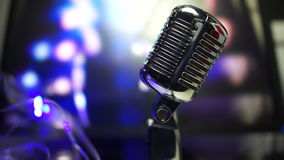 Microphone on stage at a concert stock footage