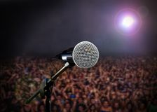 Microphone on stage in concert Royalty Free Stock Photo