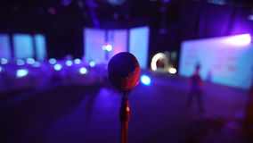 Microphone on stage at a concert venue 2 stock footage