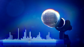 Microphone on stage. 3d rendered illustration of close up of microphone on stage with blue background Stock Photography