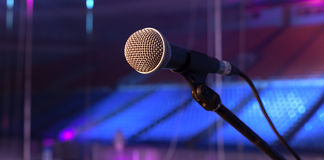 Microphone on the stage Royalty Free Stock Photos
