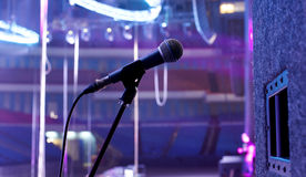 Microphone on the stage Stock Photography