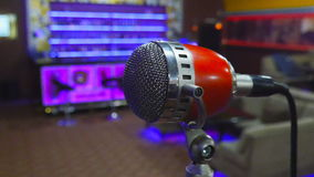Microphone on stage at event stock video footage