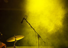 Microphone in stage lights Stock Photo
