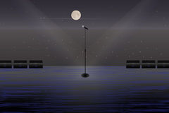 A microphone on a stage in the open air. Stock Photo