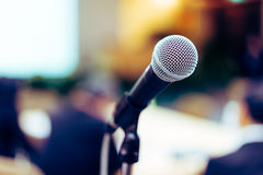 Microphone on stage singing contest. Royalty Free Stock Photo
