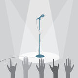 The microphone on the stage under the spotlights stock illustration