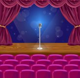Microphone on a stage Vector. Illustration. theater or concert scene Stock Image