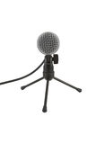 Microphone on the stand. Front view of mike with cord on a table stand isolated on white Royalty Free Stock Photos