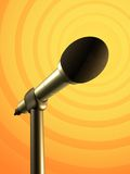 Microphone stand. Microphone on a yellow and orange background. Digital illustration stock illustration