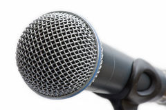 Microphone on stand. Close up of microphone on stand royalty free stock images
