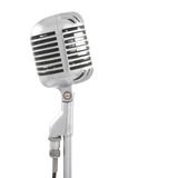 Microphone on stand. Vintage microphone isolated on white Stock Photos