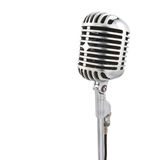 Microphone on stand. Vintage microphone isolated on white Royalty Free Stock Images