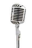 Microphone on stand. Vintage microphone isolated on white Royalty Free Stock Photo